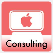 Consulting icon.  Drawing of a computer with an Apple logo on the screen with the word consulting.