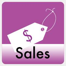 Sales icon.  Drawing of a price tag with the word sales